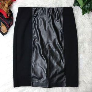Alfani Black Leather Panel ALINE skirt